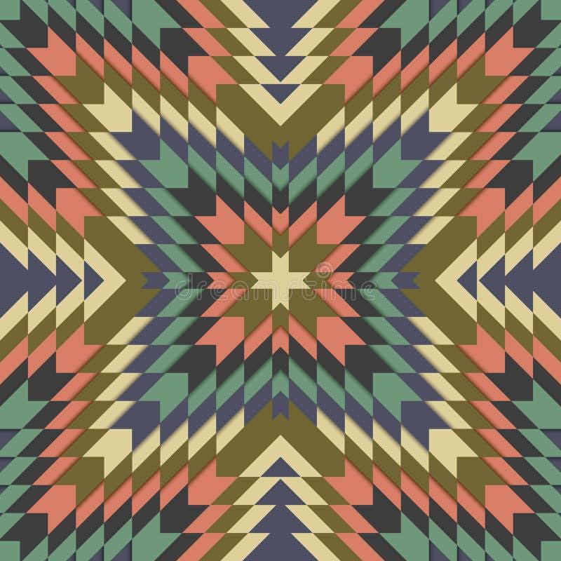 Nahtloses Stammes- Muster, geometrische Verzierung in ethno Art, ethnischer Hippie-Hintergrund, Weinlesemode-Designhintergrund stock abbildung