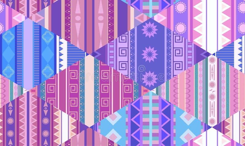 Nahtloses Stammes- Muster mit gebürtigen Mustern Patchworkdecke Vektorvorlage ist- zum Download betriebsbereit vektor abbildung