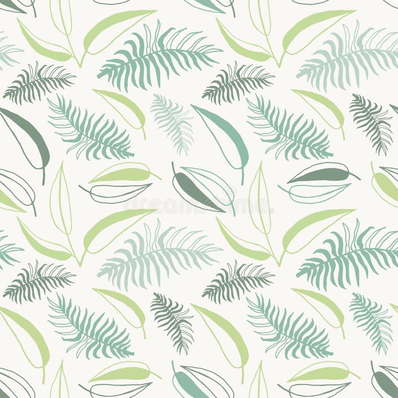 Nahtloses stilvolles tropisches Blattmuster Abstraktes nahtloses mit Blumenmuster lizenzfreie abbildung