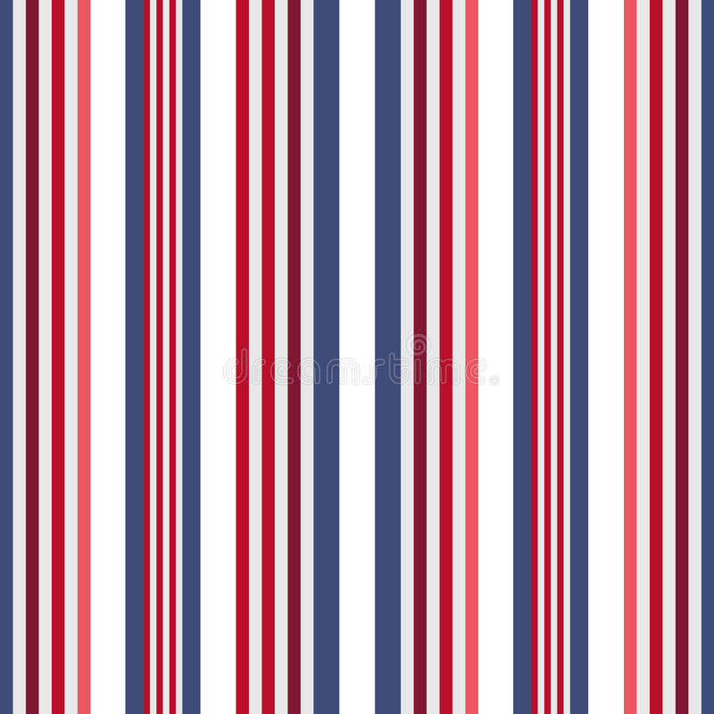 Nahtloses Streifenmuster der Retro- USA-Farbart Abstrakter Vektor lizenzfreie abbildung