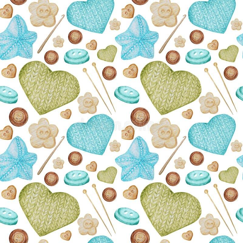 Nahtloses strickendes und häkelndes Hobby Muster des Aquarells Sammlung von Handgezogenem hellblauem, grün, beige, braun stock abbildung
