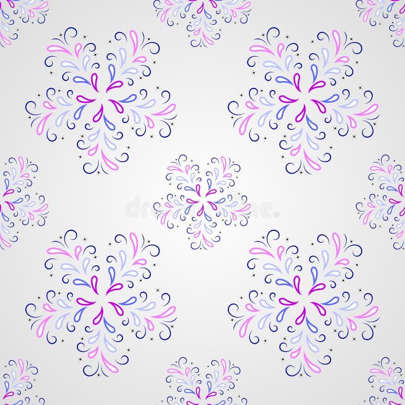 Nahtloses symmetrisches Muster mit den Blumenblättern oder den Tropfen lizenzfreies stockbild