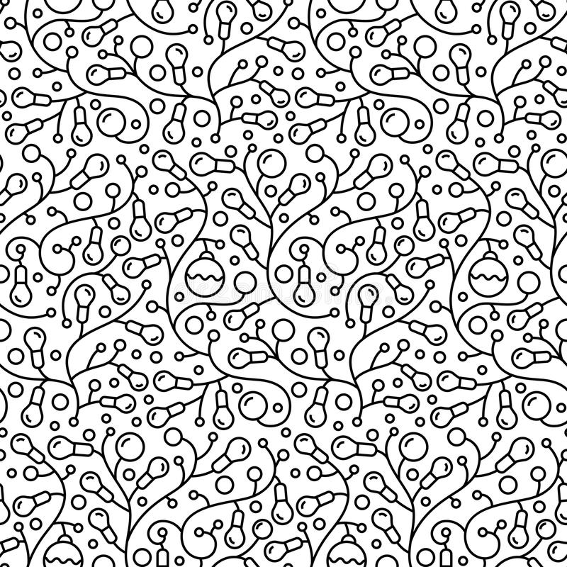 Nahtloses Tapetenmuster Weihnachtsder abstrakten Glühlampegirlande vektor abbildung