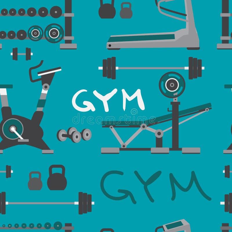 Nahtloses Textilmuster des Turnhallentrainings, Bodybuilding, gesund lizenzfreie abbildung