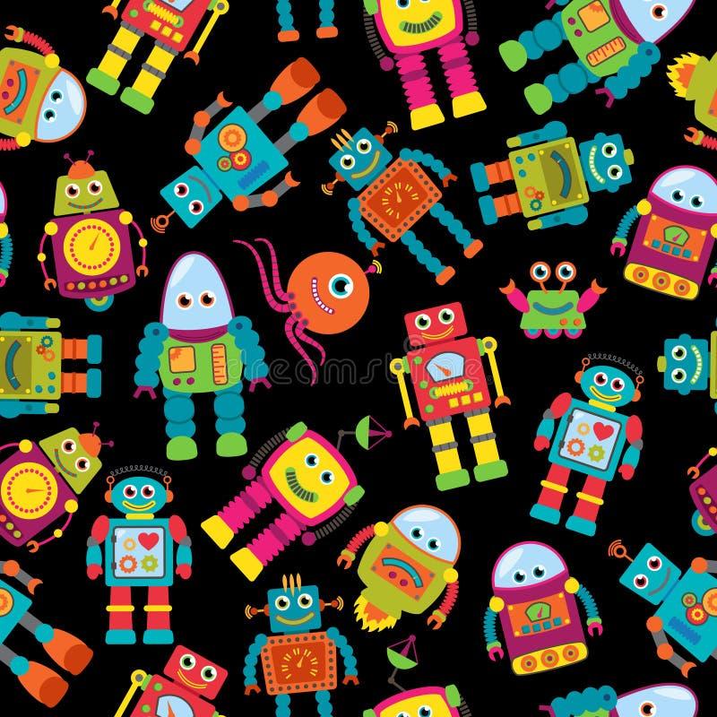 Nahtloses Tileable-Vektor-Hintergrund-Muster mit netten Robotern stock abbildung