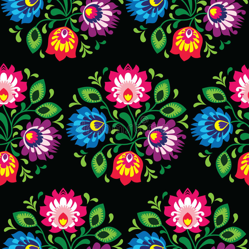 Nahtloses traditionelles polnisches mit Blumenmuster - ethnischer Hintergrund vektor abbildung