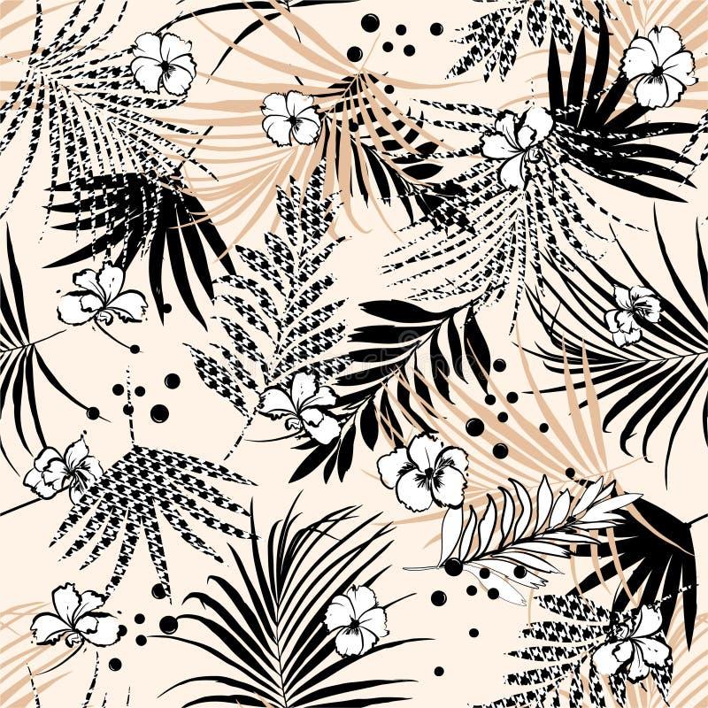 Nahtloses tropisches Blumenmuster mit Blumen- und houndstoothausfüllungsblättern Vektorschwarzwei?abbildung vektor abbildung