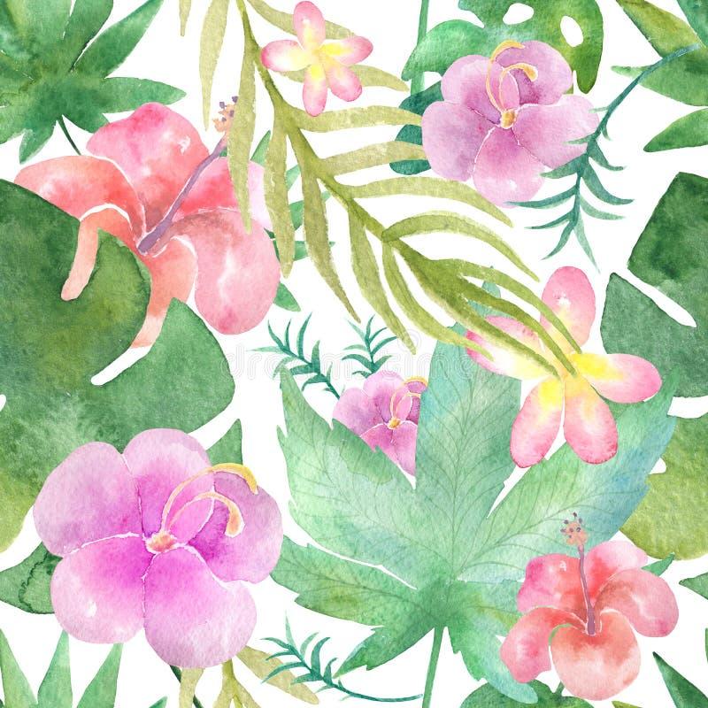Nahtloses tropisches mit Blumenmuster, dichter Dschungel lizenzfreie abbildung
