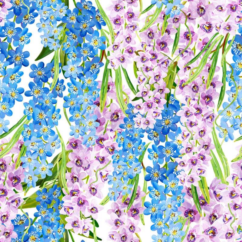 Nahtloses tropisches Muster der Gouache mit lila Orchideen und blauen Blumenniederlassungen stock abbildung