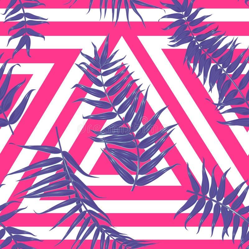 Nahtloses tropisches Muster, exotischer Hintergrund mit Palmenbaumasten, Blätter, Blatt, Palmblätter Endlose Beschaffenheit stock abbildung