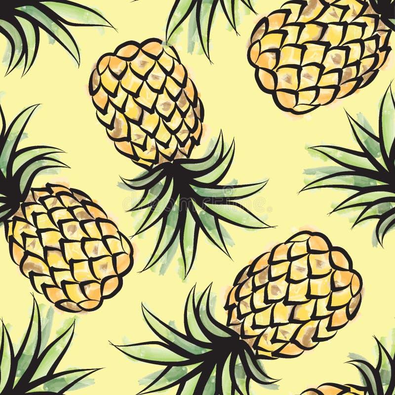 Nahtloses tropisches Muster Pieappler Tropische Frucht-Hintergrund vektor abbildung