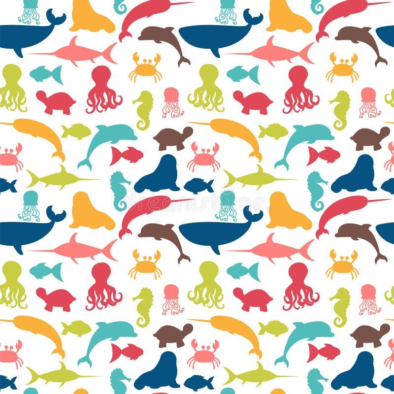 Nahtloses Unterwassermuster mit Fischen, Krake, Krabbe, Walroß, stock abbildung