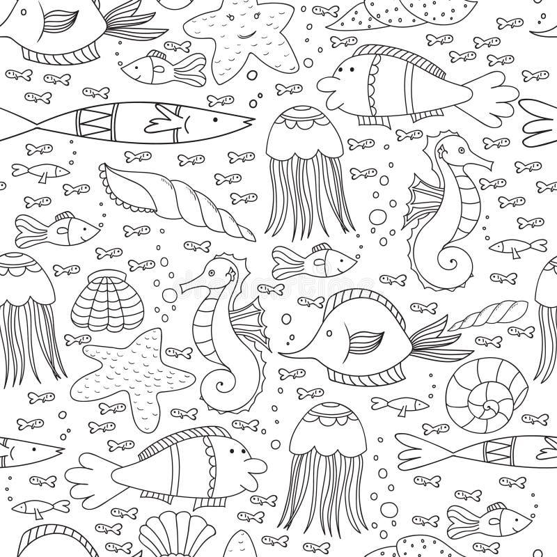 Nahtloses Unterwassermuster mit Fischen, Oberteilen, Quallen und Blasen-Linien vektor abbildung