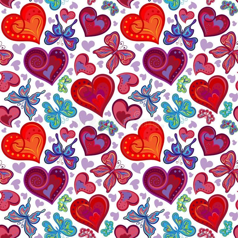 Nahtloses Valentinsgrußmuster mit bunten roten und blauen Schmetterlingen der Weinlese, Blumen, Herzen Auch im corel abgehobenen  vektor abbildung