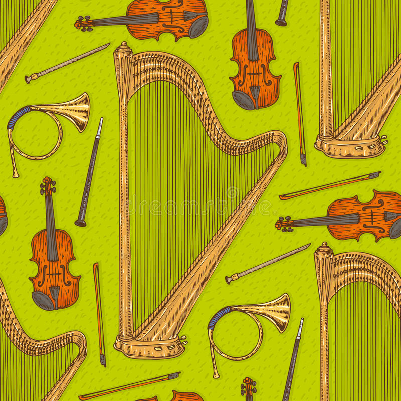 Nahtloses Vektor-Muster mit Musikinstrumenten stock abbildung