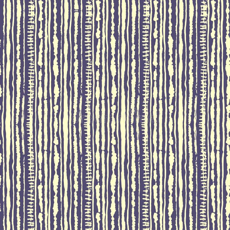 Nahtloses Vektor shibori Bindungfärbungsmuster der gelben Farbe auf Flieder Handmalereigewebe - knötenförmiger Batik vektor abbildung