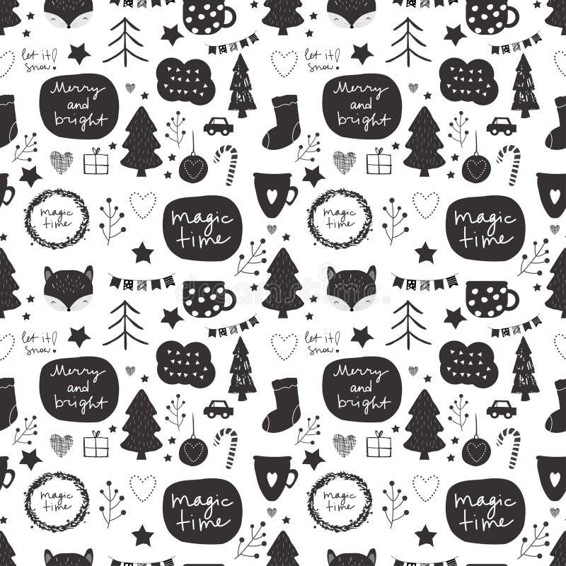 Nahtloses Vektor Weihnachts-Muster in der Schwarzweiss-- Farb-Palette mit dekorativen Elementen des Feiertags einschließlich Ster lizenzfreie abbildung