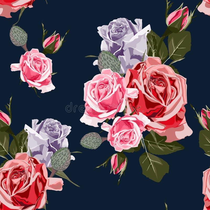 Nahtloses Vektordesignmuster vereinbarte von farbigen Rosen lizenzfreie abbildung