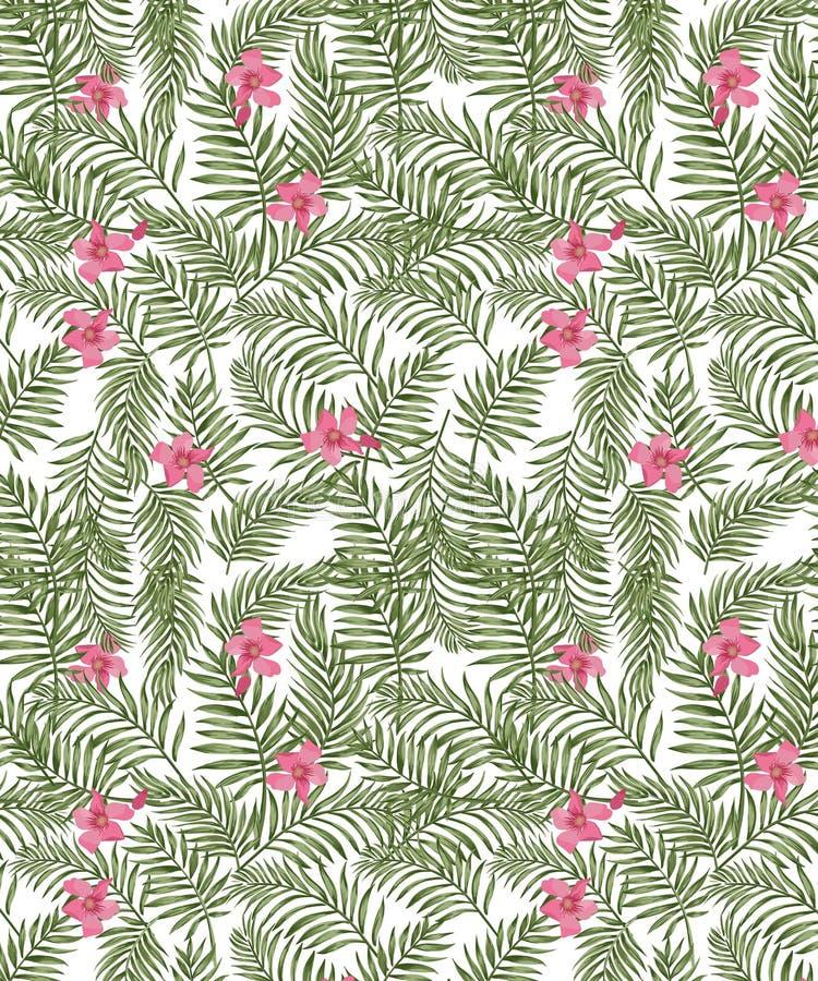 Nahtloses Vektordschungelmuster mit Palmenblättern und rosa tropischen Blumen lizenzfreie abbildung
