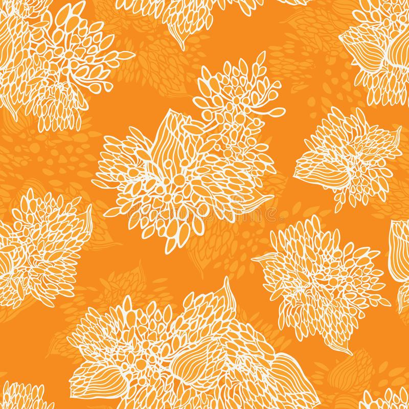 Nahtloses Vektormit blumenmuster des orange einfarbigen des Afrikaners Blumenbeschaffenheitssommers lilly für Gewebe, Tapete, scr lizenzfreie abbildung
