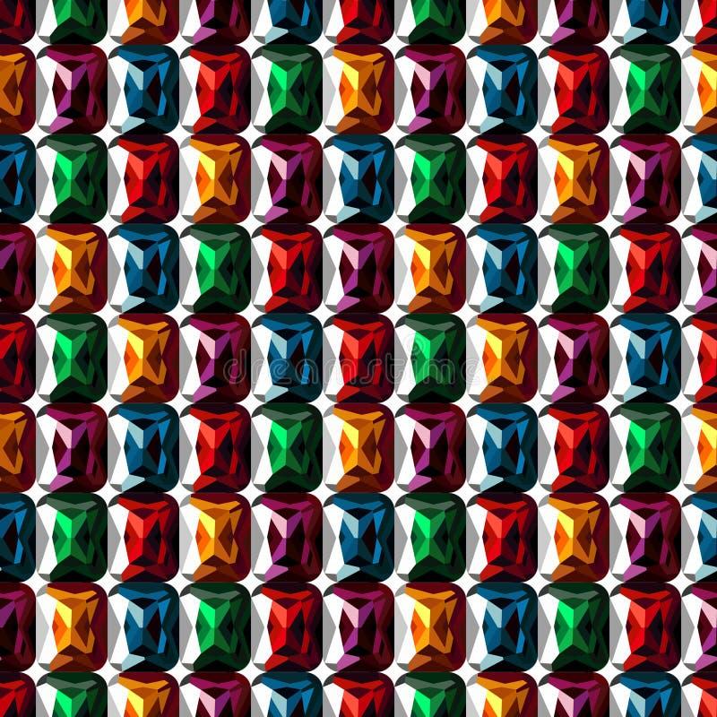Nahtloses vektormuster Abstrakter symmetrischer Hintergrund mit bunten Edelsteinen der Nahaufnahme vektor abbildung