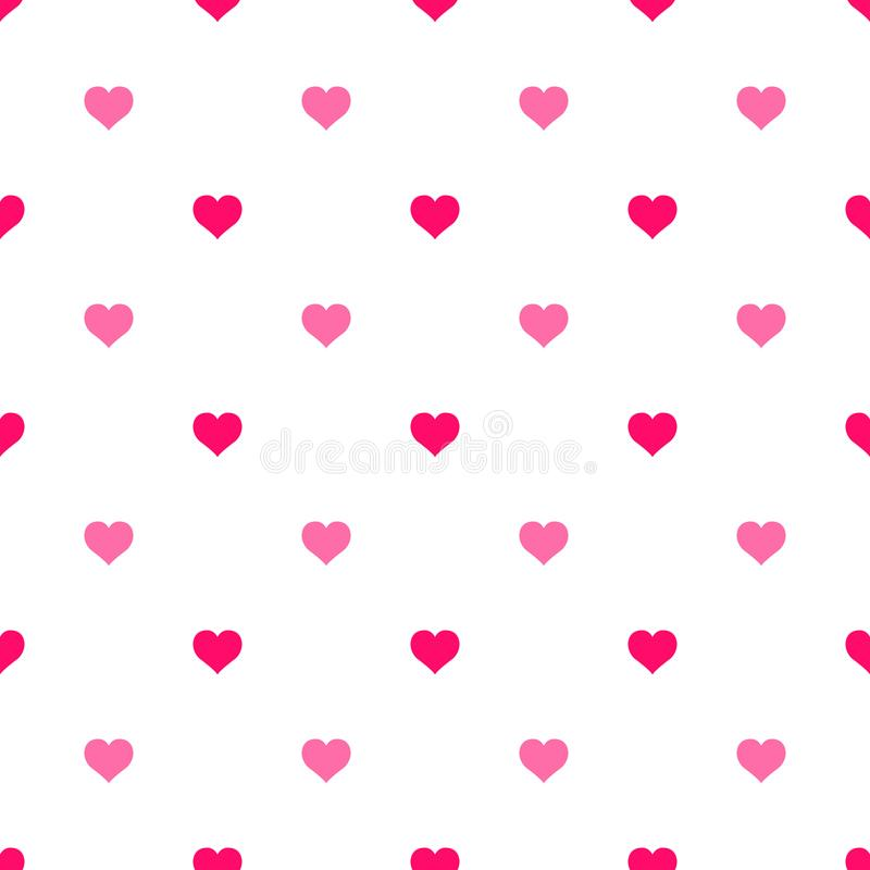 Nahtloses Vektormuster der einfachen Herzen Rosa Herz zwei Endlose chaotische Beschaffenheit des flachen Designs gemacht vom klei vektor abbildung