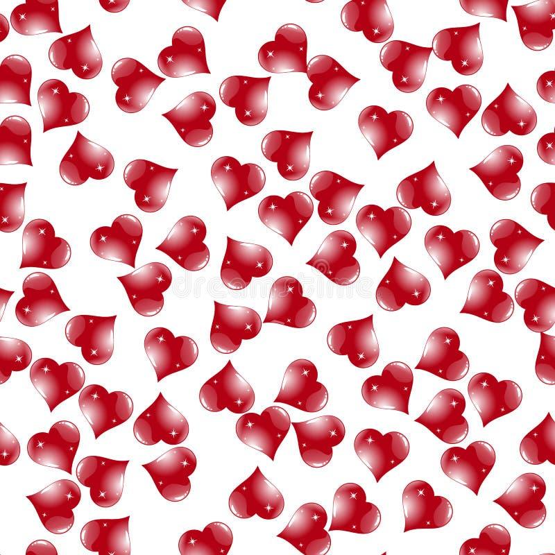 Nahtloses Vektormuster der einfachen Herzen Rosa Herz zwei stock abbildung