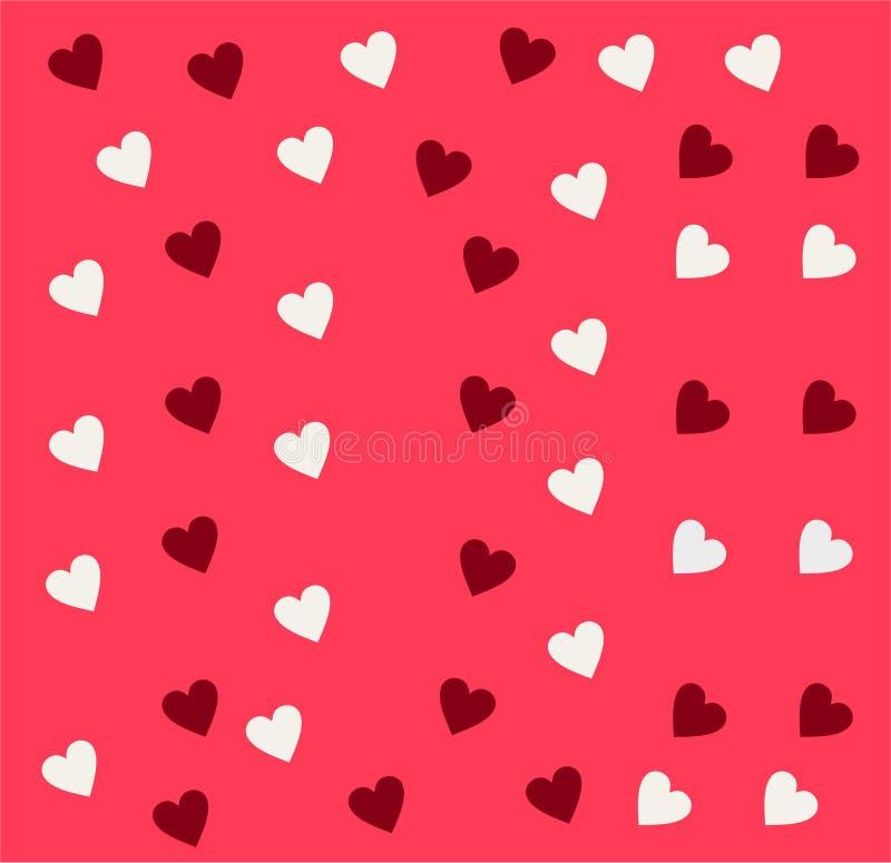 Nahtloses Vektormuster der einfachen Herzen Valentinsgrußtagesrosahintergrund Endlose chaotische Beschaffenheit des flachen Desig lizenzfreie abbildung