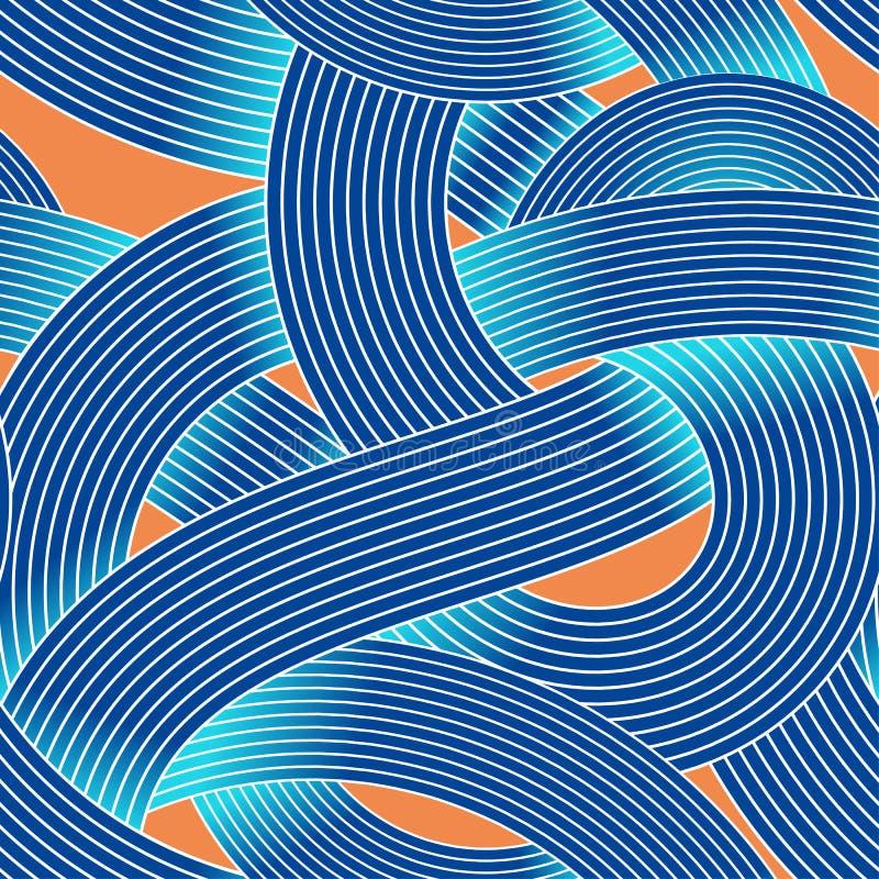 Nahtloses Vektormuster der OPkunst Gestreifter Wellenzusammenfassungshintergrund Optische Täuschung des Volumens vektor abbildung