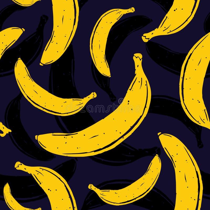 Nahtloses Vektormuster der Pop-Arten-Banane stockfotografie