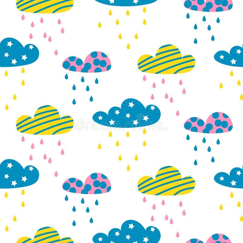 Nahtloses Vektormuster der regnerischen Wolken lizenzfreie abbildung