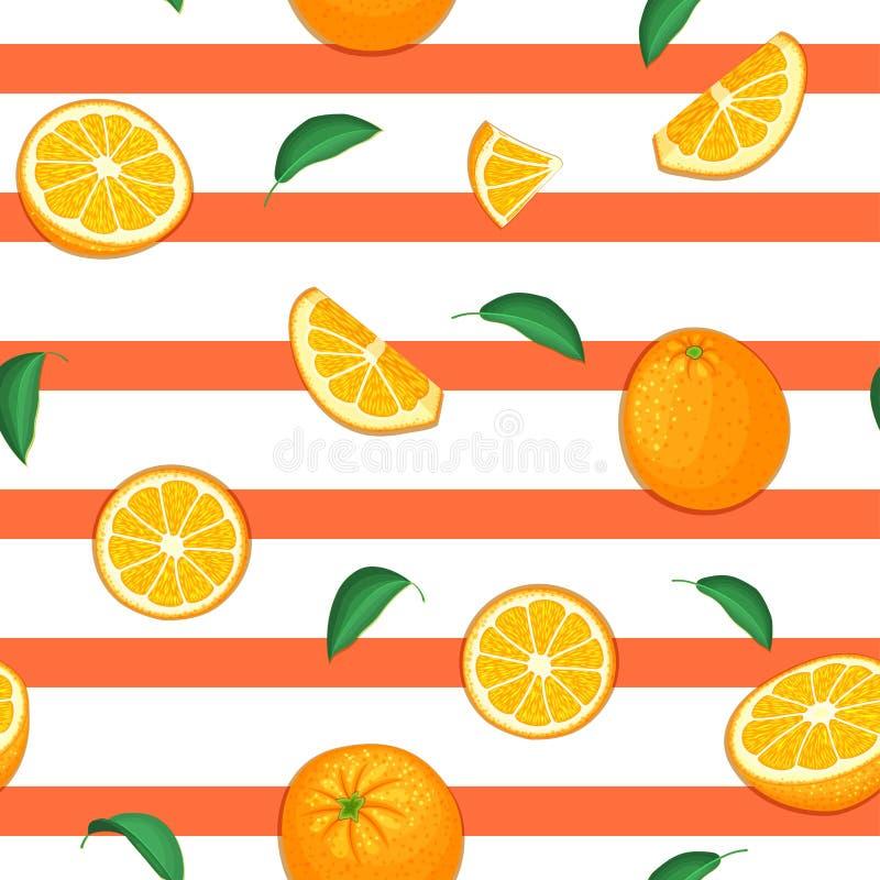 Nahtloses Vektormuster der reifen orange Frucht Gestreifter Hintergrund mit köstlicher saftiger Orangenscheibenhälfte verlässt Ve lizenzfreie abbildung