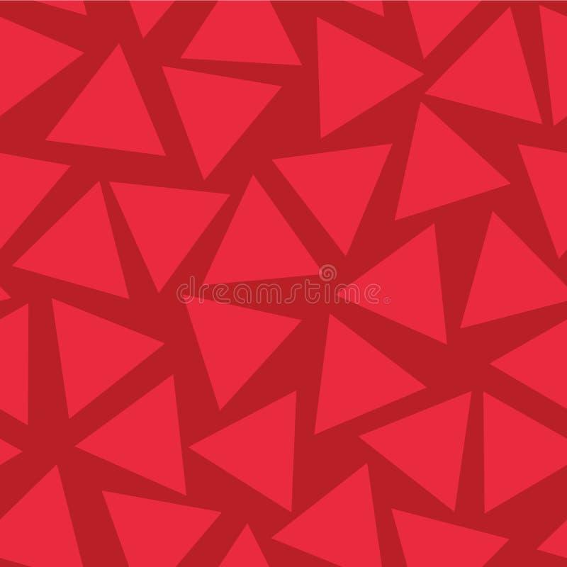 Nahtloses Vektormuster der roten Dreiecke Nach dem Zufall gesetzt Subtiler roter Farbhintergrund Geometrische zerstreute Formwied vektor abbildung