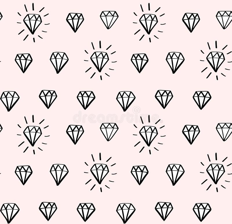 Nahtloses Vektormuster des Diamanten mit Handgezogenen Diamanten und -edelsteinen in der Gekritzelart Girly Mode, modischer Hinte lizenzfreie abbildung