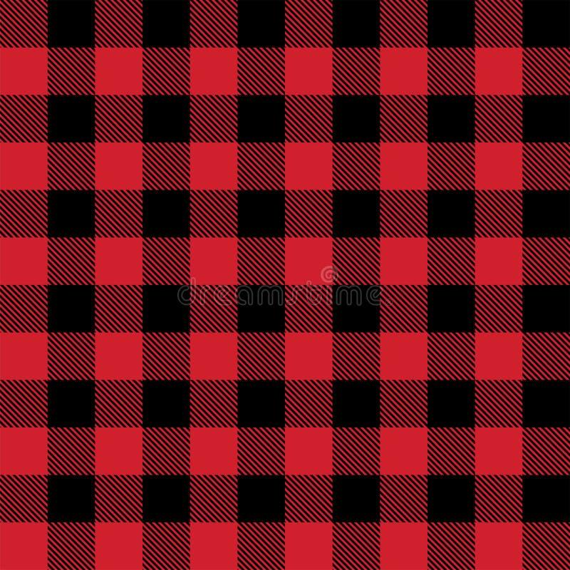 Nahtloses Vektormuster des roten und schwarzen Holzfällerbüffelplaids lizenzfreie abbildung