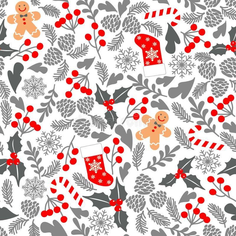 Nahtloses Vektormuster des Winters mit Stechpalmenbeeren, Süßigkeit, Lebkuchen Mann, Weihnachtssocken Teil Weihnachtshintergründe vektor abbildung