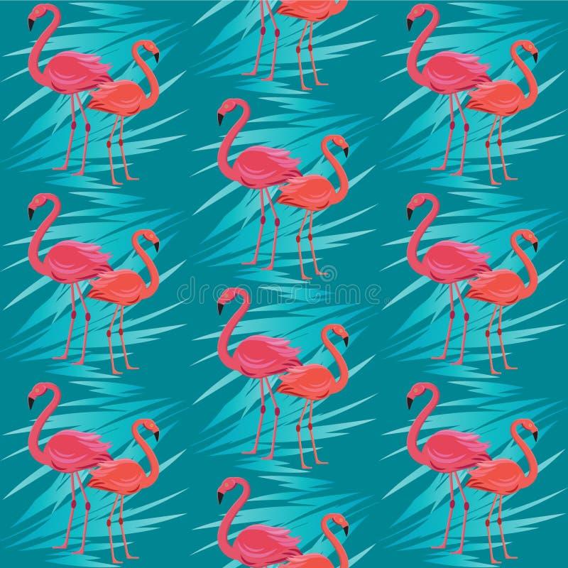 Nahtloses Vektormuster, Fahne mit Flamingo, exotischer Blumenentwurf der tropischen Blätter lizenzfreie abbildung