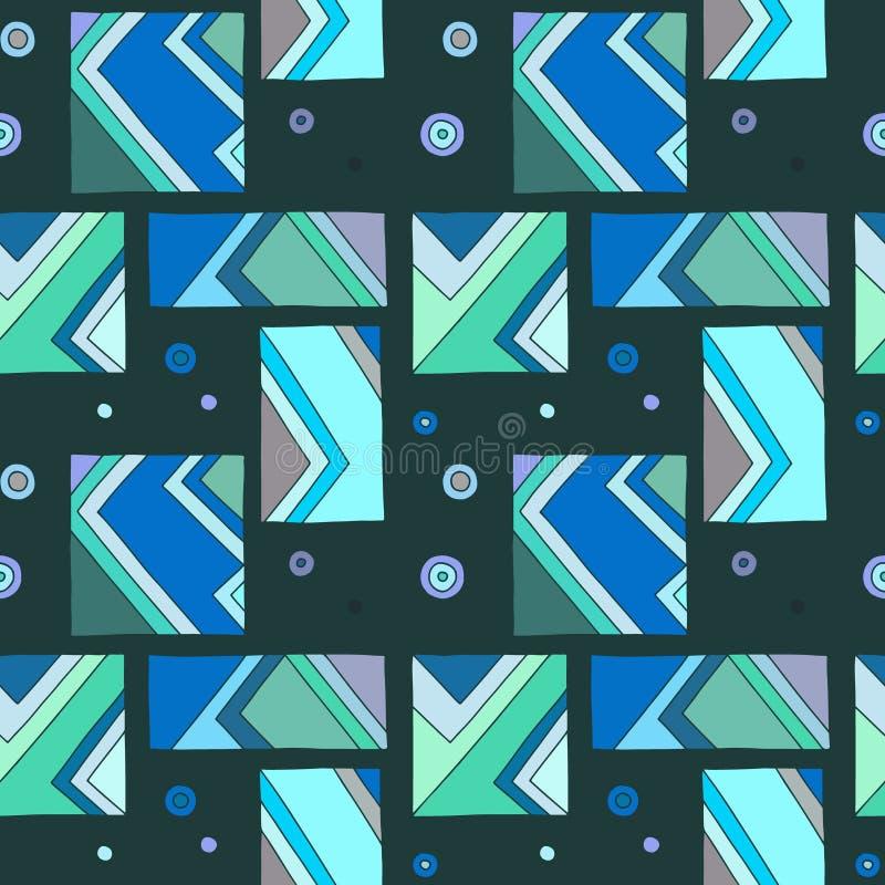 Nahtloses vektormuster geometrische Handgezogener Hintergrund mit Rechtecken, Quadrate, Dreiecke, Punkte, Linien Druck für Tapete lizenzfreie abbildung