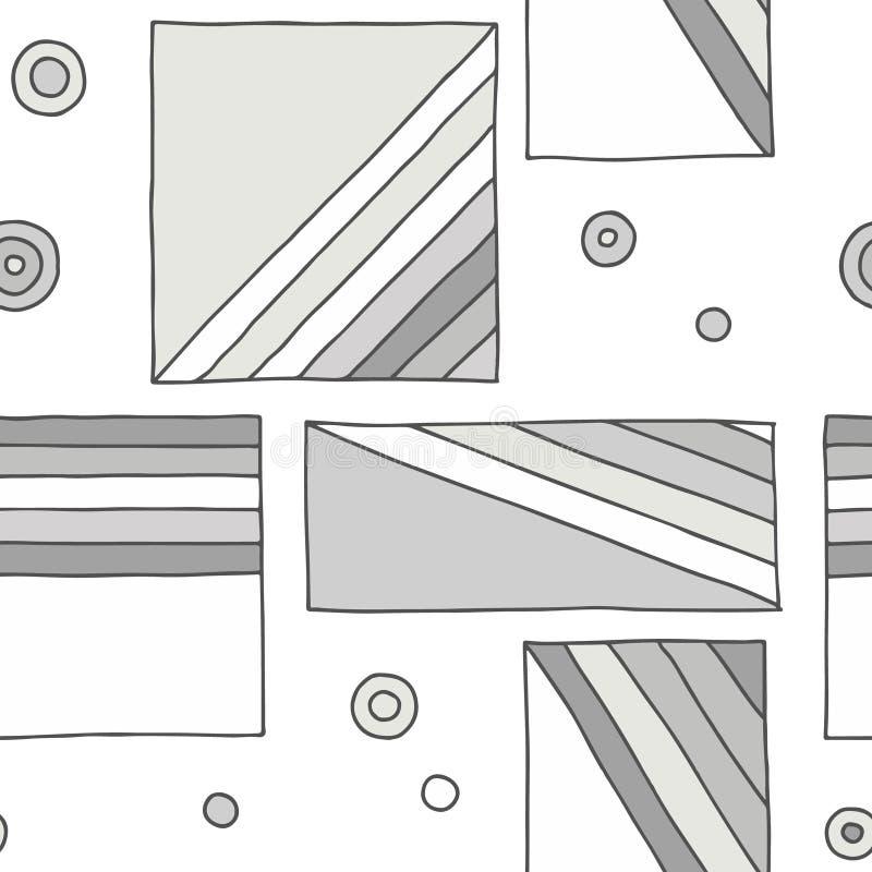 Nahtloses vektormuster geometrische Handgezogener Hintergrund mit Rechtecken, Quadrate, Punkte, diagonale Linien Druck für dekora stock abbildung