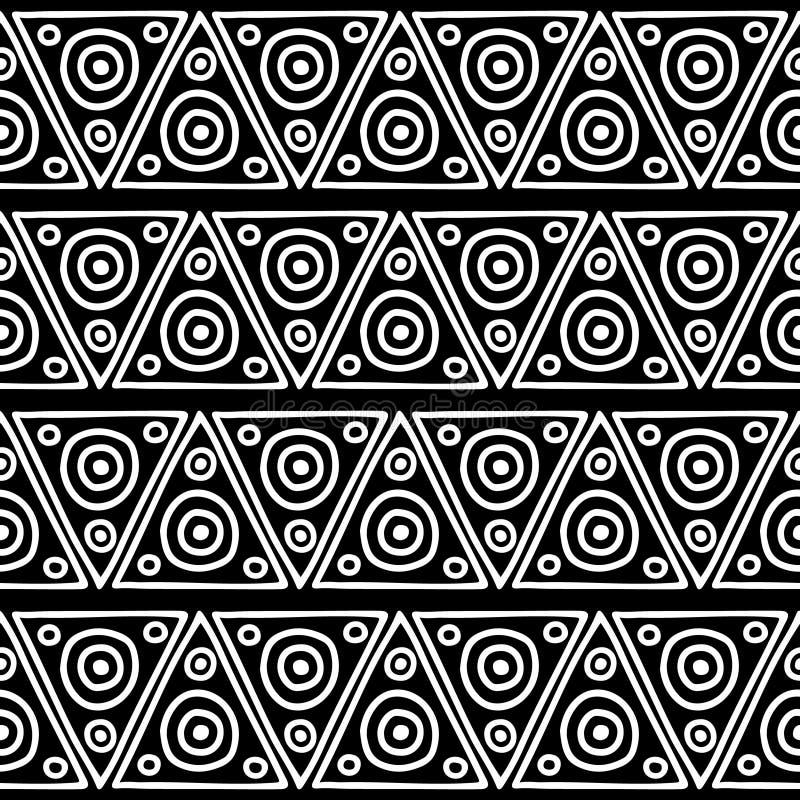 Nahtloses vektormuster Geometrischer Schwarzweiss-Hintergrund mit Hand gezeichneten dekorativen Stammes- Elementen Druck mit ethn vektor abbildung