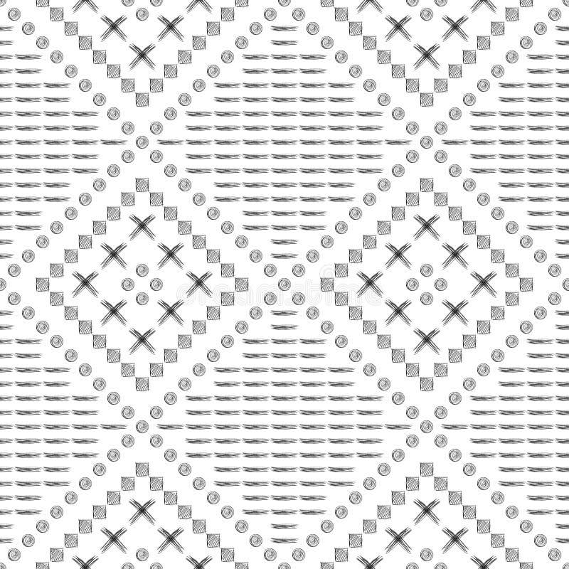 Nahtloses vektormuster Geometrischer Schwarzweiss-Hintergrund mit Hand gezeichneten Kreisen, Kreuz und Linien Einfache Auslegung stock abbildung