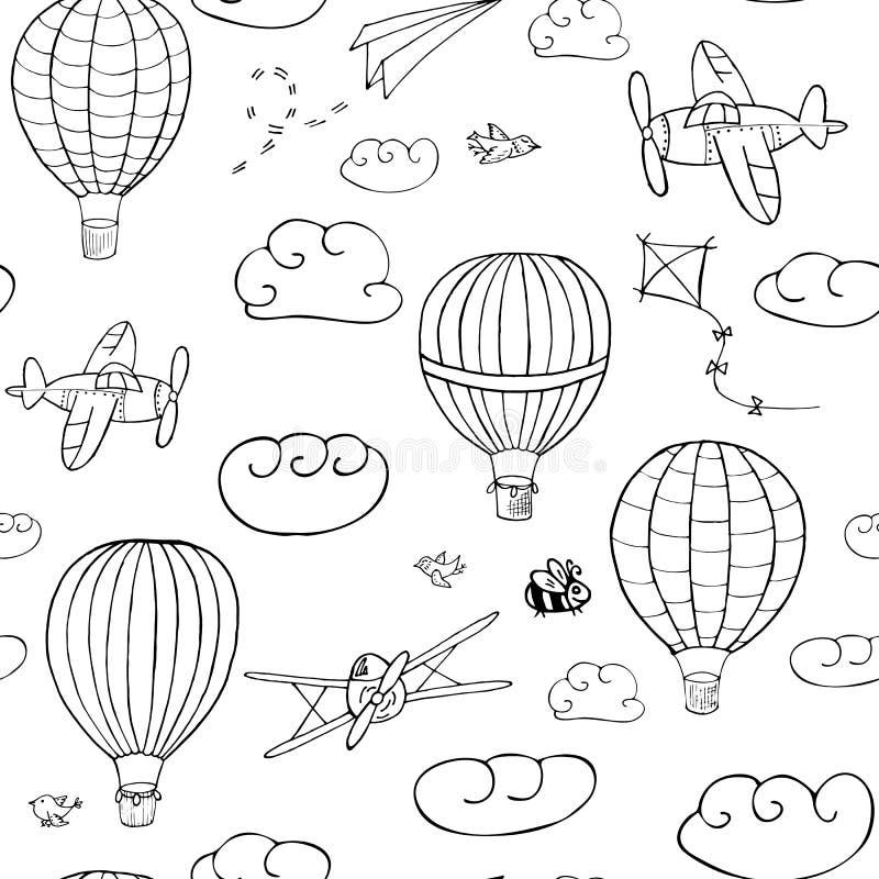 Nahtloses Vektormuster, Hand gezeichnete Heißluft baloons vektor abbildung