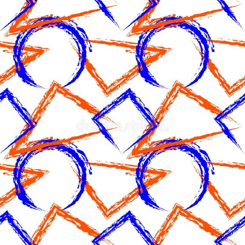Nahtloses vektormuster Heller bunter geometrischer Hintergrund mit Dreiecken, Kreisen, Quadraten und Rechtecken auf dem weißen ba lizenzfreie abbildung