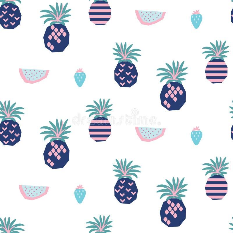 Nahtloses Vektormuster mit abstrakten Ananas und Wassermelone stock abbildung