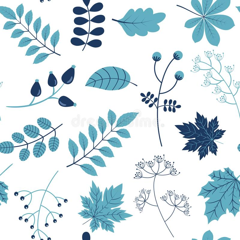 Nahtloses Vektormuster mit blauen Blättern für Verpackungsgestaltung für Naturprodukte stock abbildung