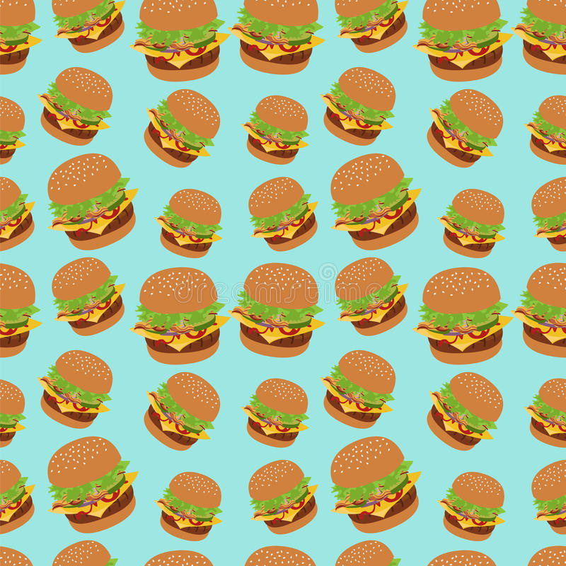 Nahtloses Vektormuster mit Burgerbild Cheeseburgerblauhintergrund stock abbildung
