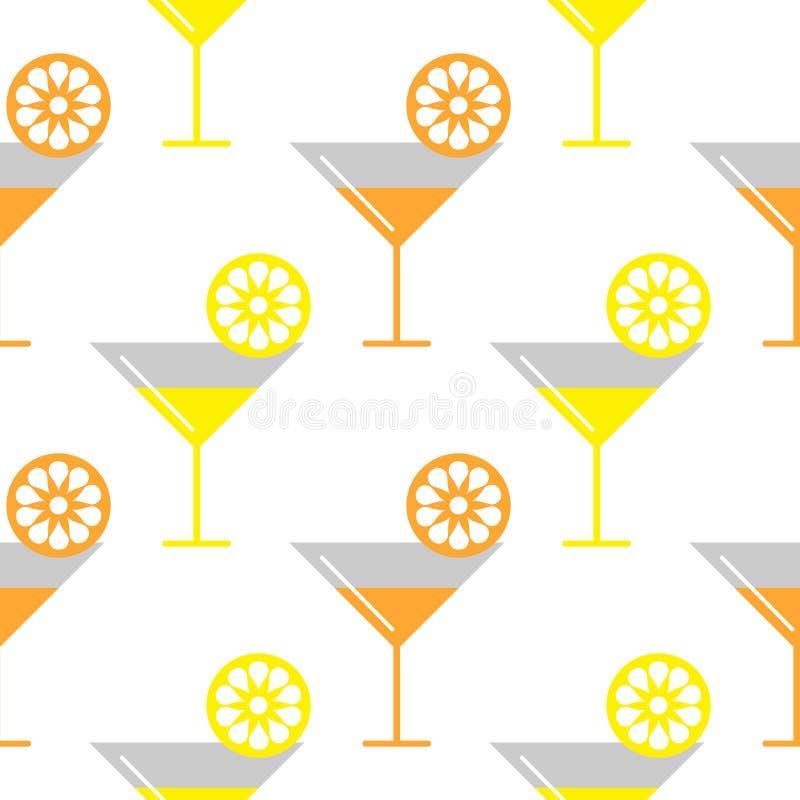 Nahtloses Vektormuster mit coctails und orange, Zitronenscheiben auf dem weißen Hintergrund lizenzfreie abbildung