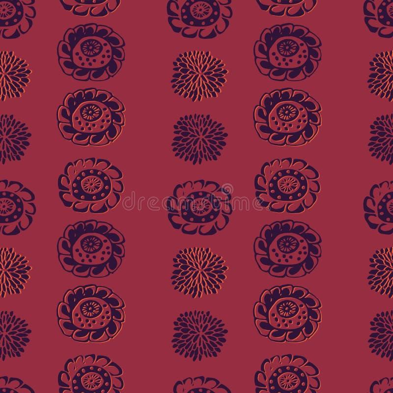 Nahtloses Vektormuster mit den Blumenformen, die vertikale Streifen bilden vektor abbildung
