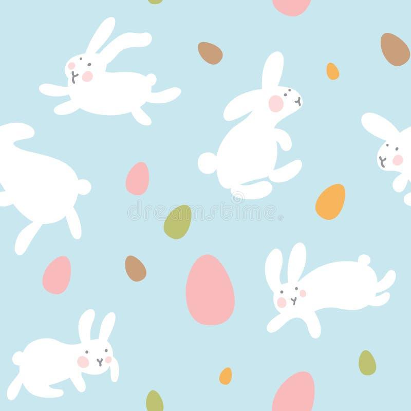 Nahtloses Vektormuster mit Eiern und Kaninchen auf hellblauem Hintergrund Hasen springen ganz herum und sammeln Ostereier Kawaii vektor abbildung