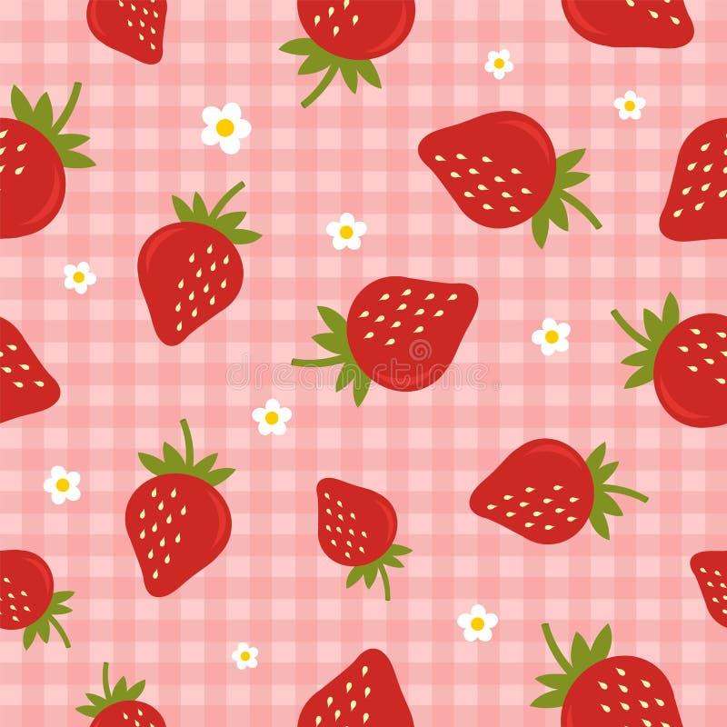 Nahtloses Vektormuster mit Erdbeeren auf dem karierten rosa Hintergrund lizenzfreies stockfoto